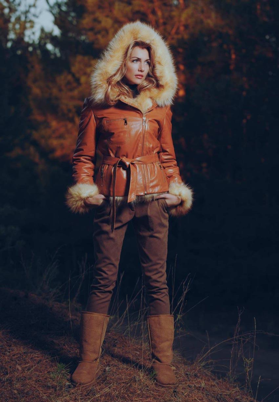 Jacket Femme en cuir et fourrure