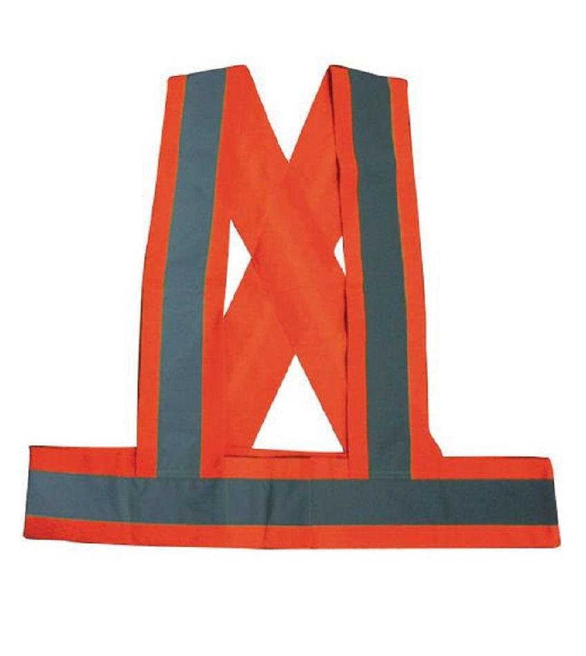 Des giletsde haute visibilitéen fluo orange avec desbandesréfléchissantes en polyester